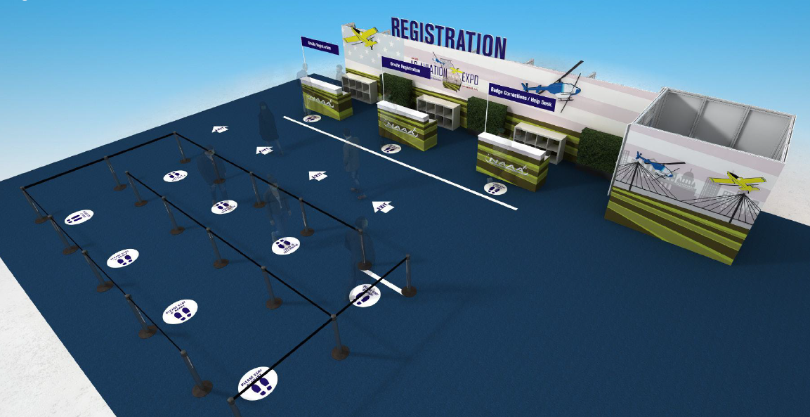 Example of new registration flow at the Ag Aviation Expo to distance attendees 6 ft. apart.
